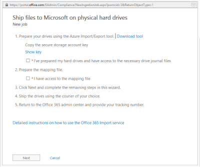 Office 365 Import Service - Ship