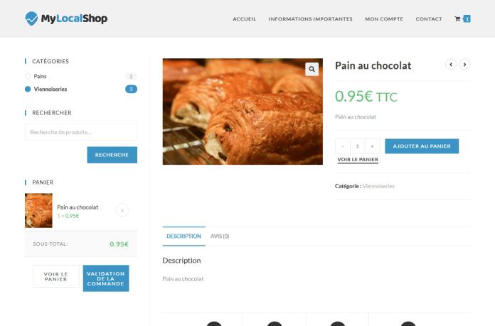 Démonstration de mylocalshop.fr avec une boulangerie