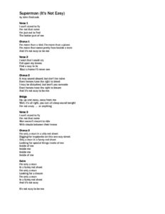 thumbnail of Superman (It's Not Easy) Lyrics