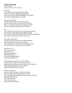 thumbnail of Three Feet Tall Lyrics