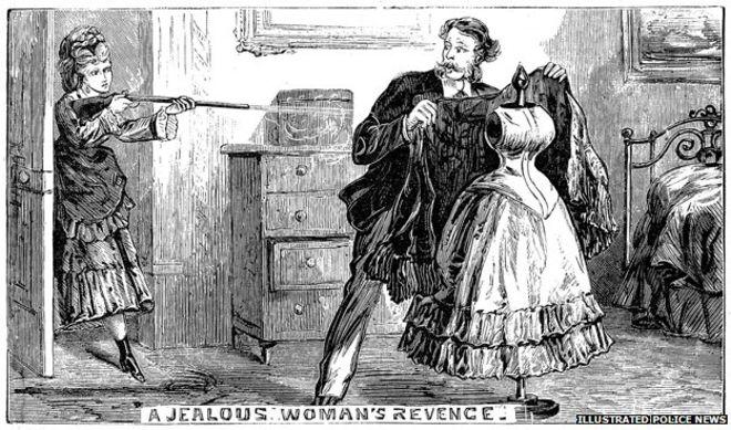 Una amante desdeñada confunde a un maniquí con una rival. Illustrated Police News, 9 de noviembre de 1872.