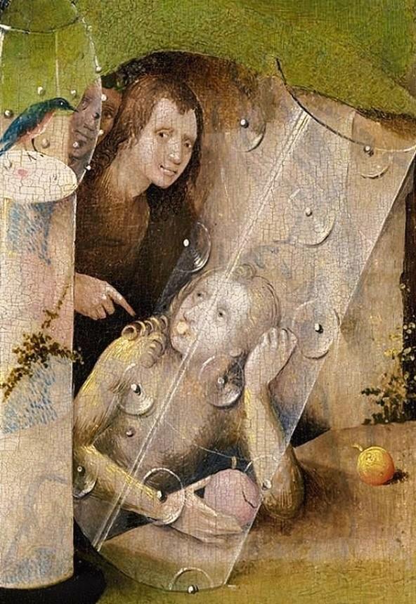 El Bosco, El jardín de las delicias, 1490-1500. Museo Nacional del Prado, Madrid. Detalle de la tabla central: presunto autorretrato del Bosco.