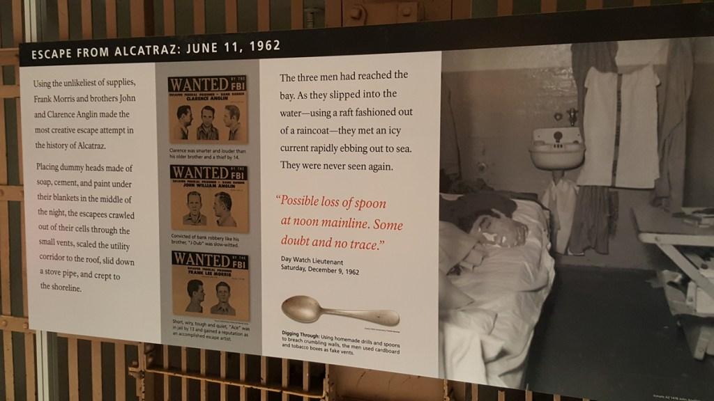 Die bekannteste Flucht, die auch von Hollywood verfilmt worden ist, ereignete sich am 11.Juni 1962: Am 11. Juni 1962 verschwanden die Insassen Frank Morris und die beiden Brüder John und Clarence Anglin aus ihren Zellen, ein vierter Mann musste aus Zeitgründen zurückgelassen werden. Die drei Männer konnten sich ihren Weg durch die Belüftungsgitter der Zellen freigraben, da der von Salz und Feuchtigkeit stark angegriffene Mörtel brüchig geworden und daher mit in die Zellen geschmuggelten Essbestecken aus massivem Stahl leicht wegzukratzen war. Sie gelangten über den Lüftungsschacht und das Dach des Zellenblocks schließlich nach außen und verschwanden dann mit einem Schlauchboot, das sie mithilfe von Regenmänteln und Klebstoff selbst gefertigt hatten. Ihr Verschwinden wurde erst am nächsten Morgen bemerkt, als sie bereits einen Vorsprung von über neun Stunden hatten. Teile ihres Schlauchbootes und ihrer Schwimmhilfen wurden an Land gespült bzw. von Fischern geborgen. Die 1979 abgeschlossene FBI-Untersuchung des Falls vermutet den Tod der Flüchtigen durch Ertrinken. Die Leichen selbst wurden nie gefunden, was für die Bucht mit ihrer starken Strömung auf den offenen Pazifik hinaus allerdings nicht ungewöhnlich ist. Dennoch hält sich das Gerücht einer erfolgreichen Flucht. Die Geschichte wurde später als Vorlage für den Film Die Flucht von Alcatraz mit Clint Eastwood genutzt.