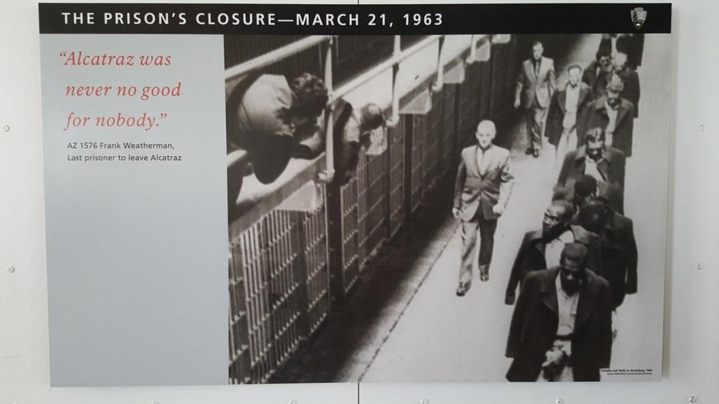 Schließung des Gefängnisses: Wegen der hohen Betriebskosten und des zunehmenden Verfalls der Anlage durch das Salzwasser, was ständige Instandhaltung der alten Gemäuer notwendig machte, ordnete Justizminister Robert F. Kennedy am 21. März 1963 die Schließung des Gefängnisses an. Seitdem ist die Insel unbewohnt.