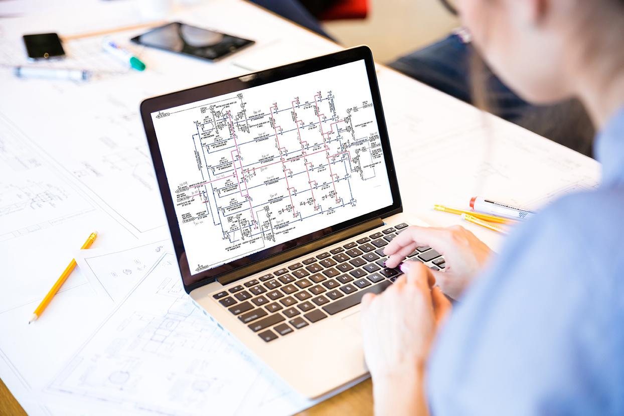 hight resolution of engineer viewing circuitiazation diagram
