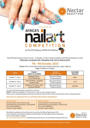 Nectar Beauty sponsors Africa's First Nail Art Competition at Beauty Africa  Conference and Exhibition 2015.