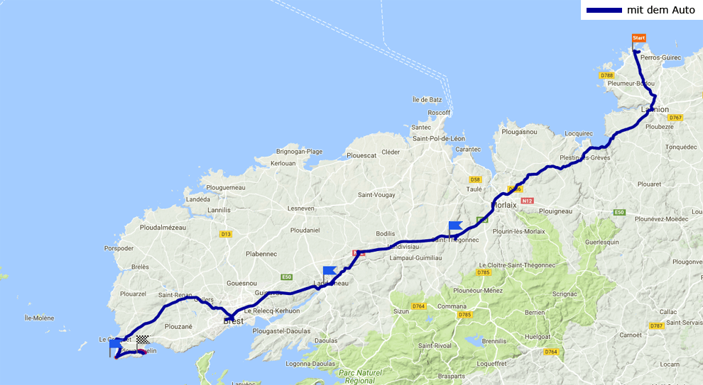 Tagesstrecke Tregastel - Plougovelin