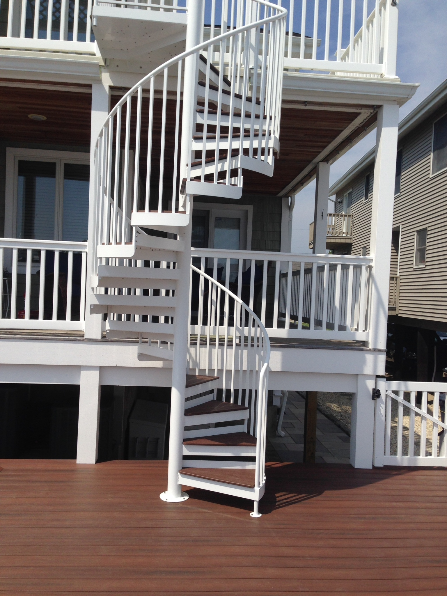 Metal Spiral Staircases Custom Spiral Staircase Nj Mitchell   Outdoor Spiral Staircase Installation   Simple   3 Floor   Outdoor   Backyard   Roof Deck
