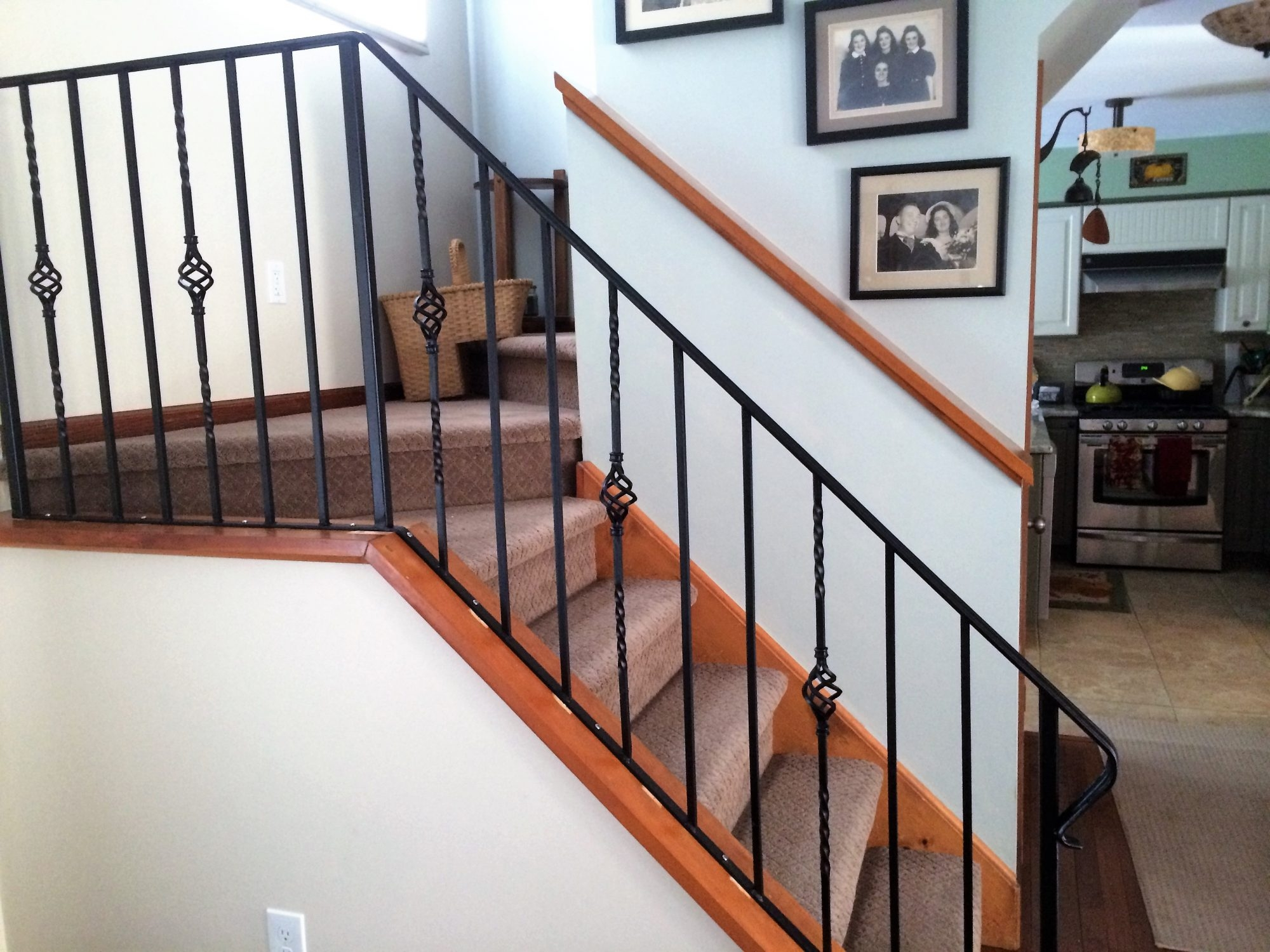 Wrought Iron Railing Systems New Jersey Mitchell Welding Iron   Rod Iron Interior Railings   Iron Work   White   Steel   Route   Staircase