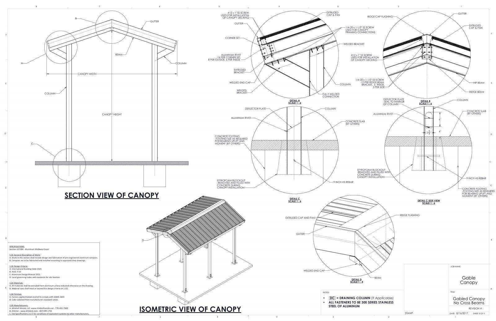 Gable Canopy Drawings