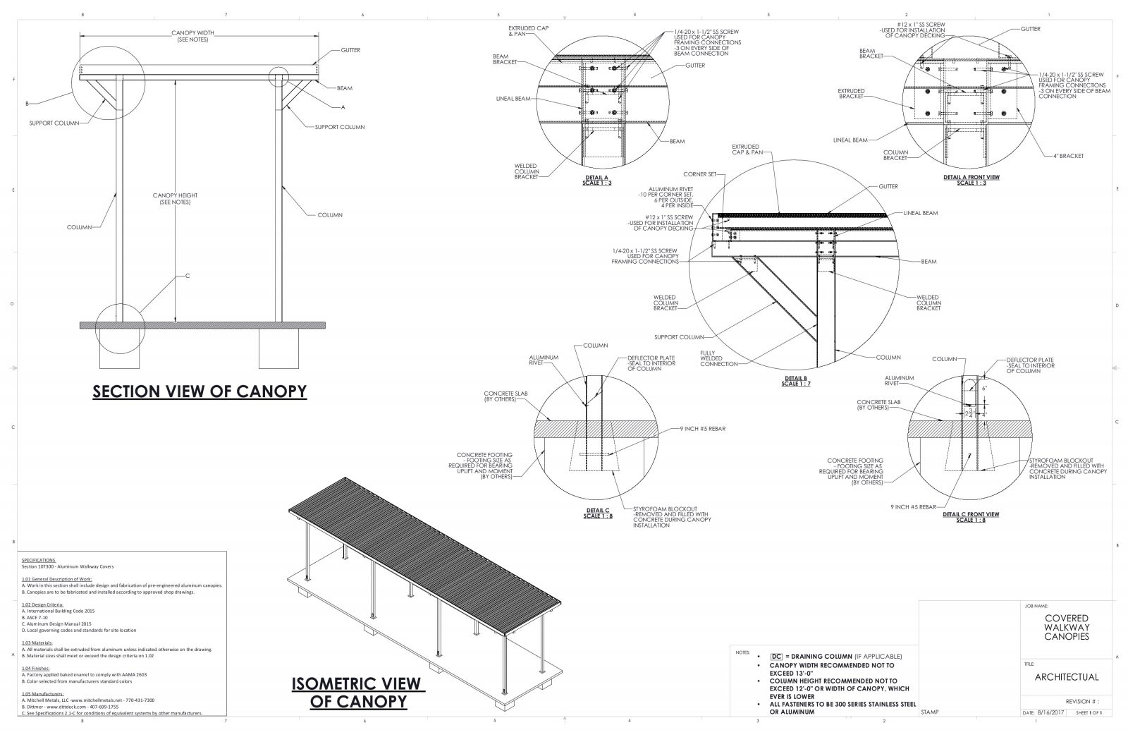 Covered Walkway Canopy Drawings Specs For Canopies