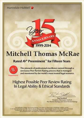 Mitchell T. McRae, 15 Consecutive Year AV Preeminent Rating by LexisNexis – Martindale Hubbell.