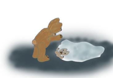 Wenn du genau hinschaust, siehst du, dass Teddy einen Schkoladenmund hat.