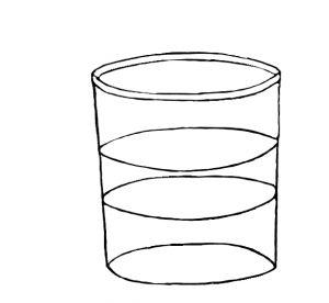 Glas mit zwei Flüssigkeiten.