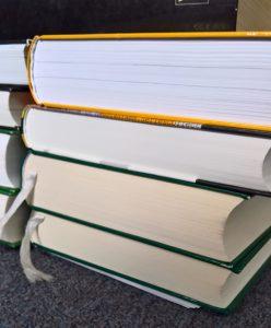 Ein dicker Bücherstapel.