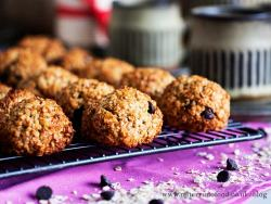 banana and oat cookies on a tray