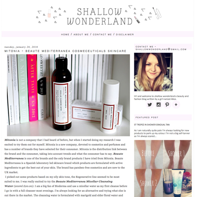 Mitonia featured on shallow wonderland blog