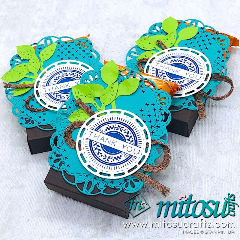 Stitched All Around & Stitched Labels Stampin' Up! Treat Holder from Mitosu Crafts