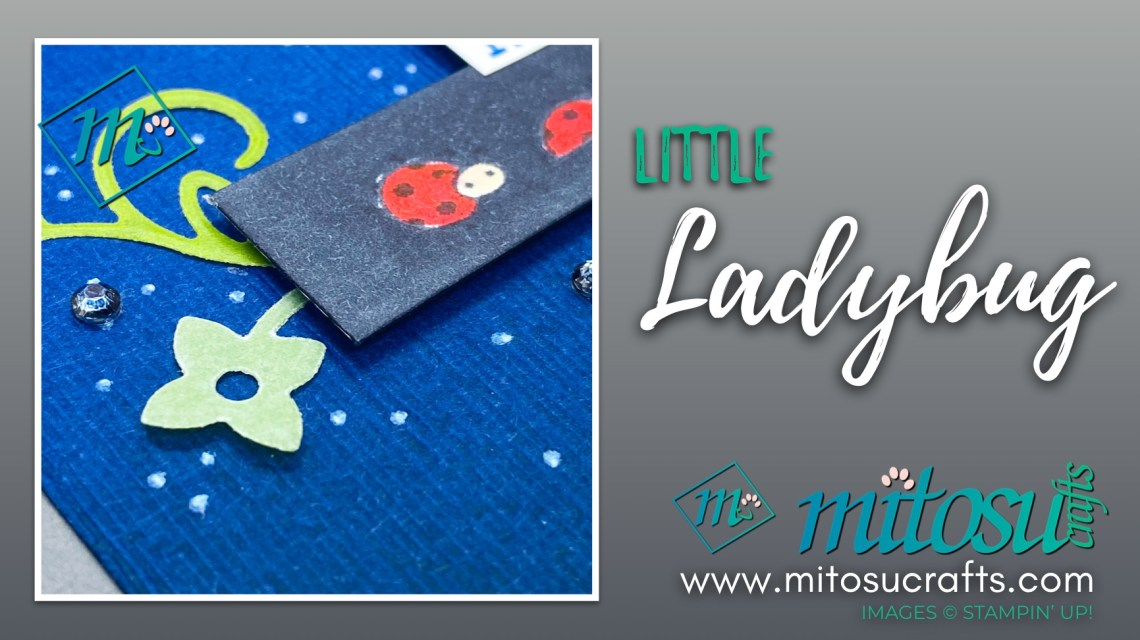 Little Ladybug Faux Black Card for Paper Craft Crew Challenge Inspiration. Order Stampin Up supplies from Mitosu Crafts UK, France, Germany, Austria or The Netherlands
