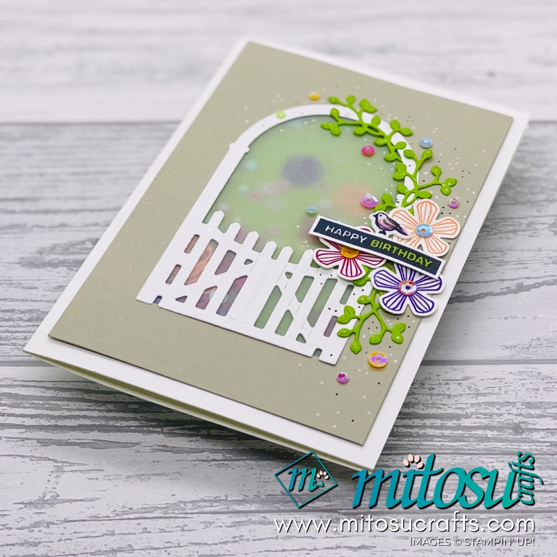 Stampin Up Garden Gateway Shaker Card Inspiration for Creating Kindness Design Team Blog Hop from Mitosu Crafts UK