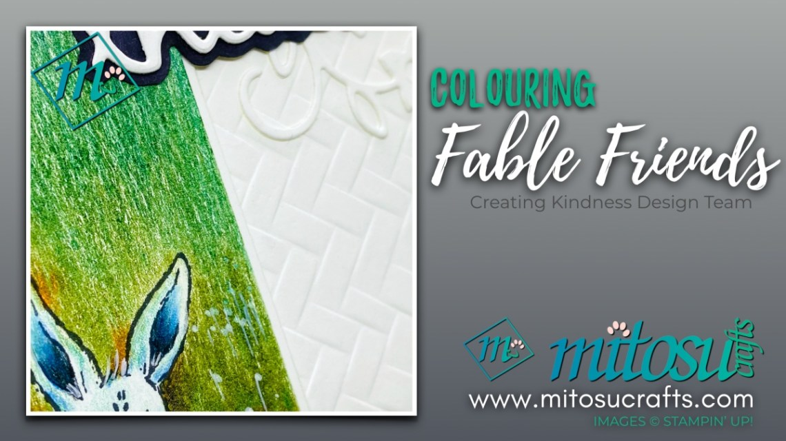 Colouring Fable Friends Rabbit in Watercolor Pencils for Creating Kindness Design Team Hop from Mitosu Crafts UK