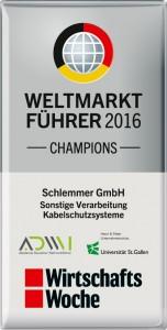 Weltmarktführer 2016: Auszeichnung für die Schlemmer Group (Quelle: www.schlemmer.com)