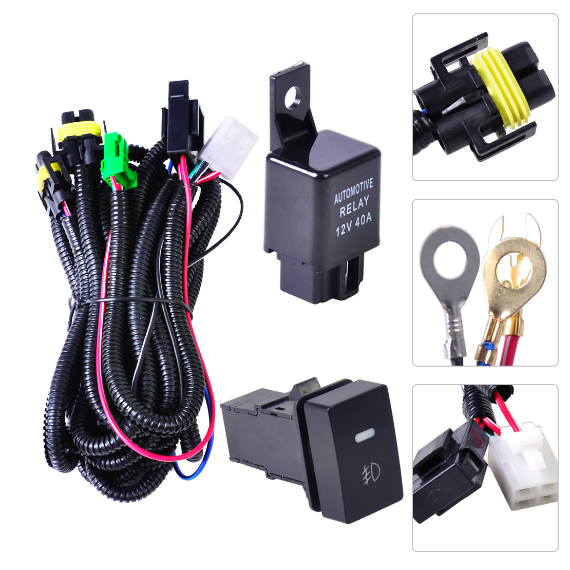 hight resolution of wiring harness sockets connector switch for h11 fog light lamp ford focus nissan ebay