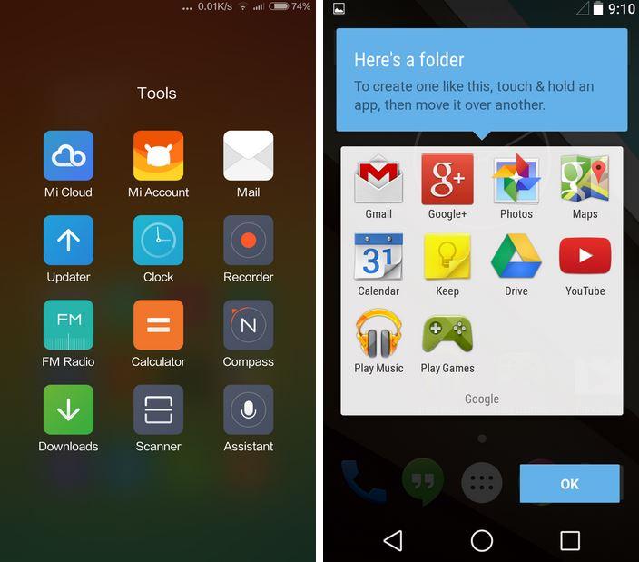 cartelle MIUI 6 vs Android L