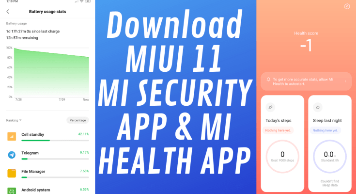 MIUI 11 Mi Security App and New Mi Health App - Download Apk