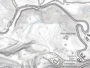 Schema del modesto bacino idrografico della valle cieca della grotta Tana della Volpe