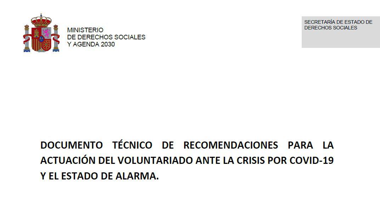 Recomendaciones para la actuación del voluntariado ante la crisis por Covid-19 y el estado de alarma