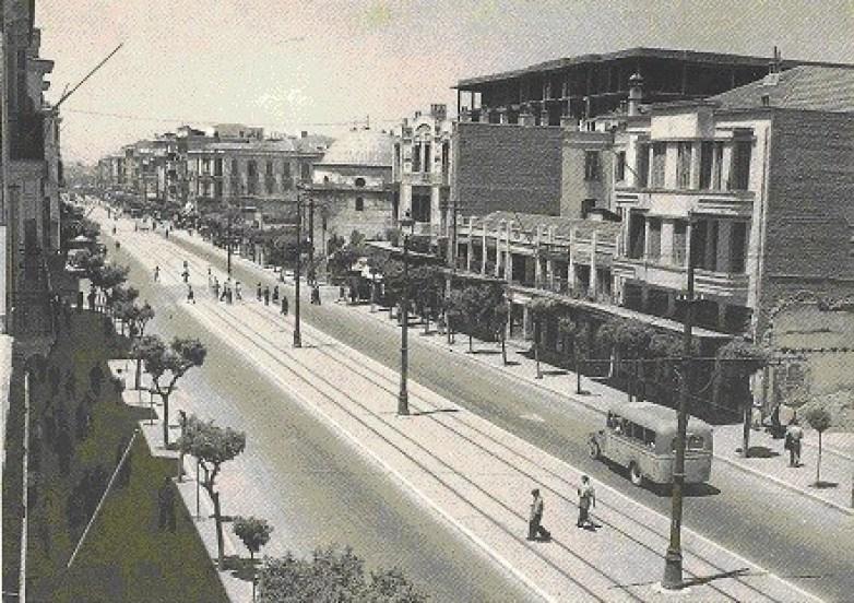 Saloniki_Egnatia_1950 (tram) Η Εγνατία στο ύψος της Βενιζέλου το 1950 ( αρχείο Γιώργου Κωτσίδη)