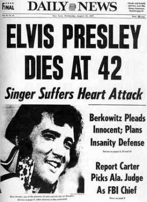 Ο θάνατος του Έλβις Πρίσλεϊ σε πρωτοσέλιδο εφημερίδας