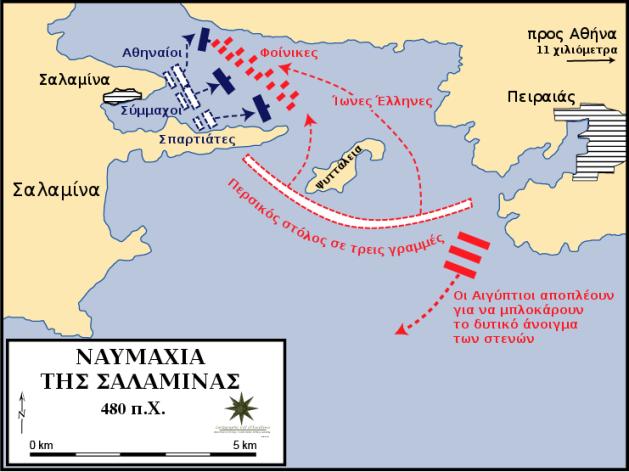 Ο περσικός στόλος εγκλωβίστηκε στο στενό της Σαλαμίνας