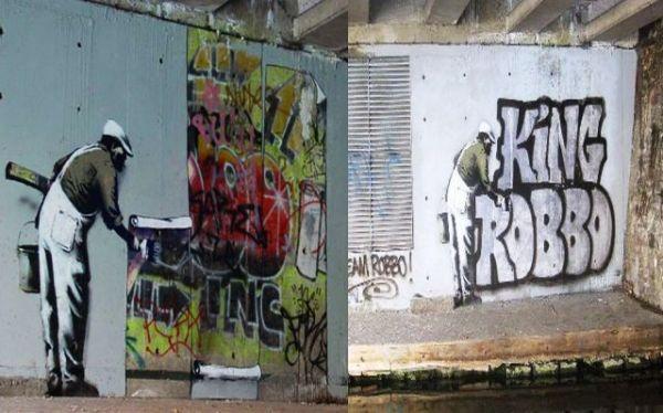 Αριστερά, το χαλασμένο γκράφιτι του Robbo και δεξιά, η αποκατάσταση, όπως την τελειοποίησαν συνεργάτες του Robbo