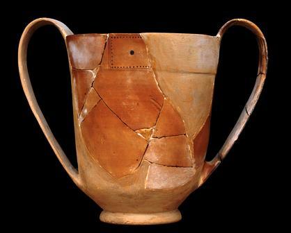 Κάνθαρος από την Τρωάδα. Αγγείo πόσης από λατρευτικό χώρο θυσιών και συνεστιάσεων που βρέθηκε κάτω από το δάπεδο του Κτηρίου του Τελετουργικού Χορού. Α΄ μισό 7ου αι. π.Χ.