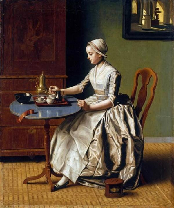"""""""Μια κυρία σερβίρει σοκολάτα με όλα της τα σύνεργα"""". Πίνακας του 1744"""