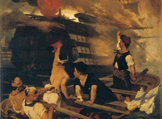 Ο Κωνσταντίνος Κανάρης πυρπολεί την τουρκική ναυαρχίδα του Καρά Αλή στη Χίο. Στο κατάστρωμά της βρίσκονται όλοι οι αξιωματικοί του τουρκικού στόλου, γιορτάζοντας το Ραμαζάνι. Σκοτώνεται ο τούρκος ναύαρχος και περισσότεροι από 1000 παριστάμενοι. Πίνακας του Νικιφόρου Λύτρα.