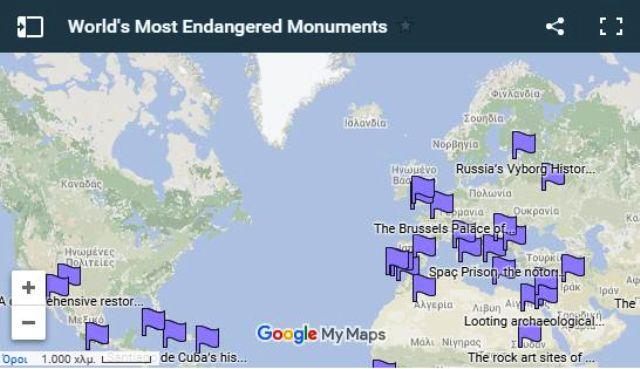 """Τα 50 μνημεία πολιτιστικής κληρονομιάς που βρίσκονται σε κίνδυνο μέσα από ένα διαδραστικό χάρτη. Ανάμεσά τους και η """"βυθισμένη πόλη"""" της Λακωνίας (χάρτης)"""
