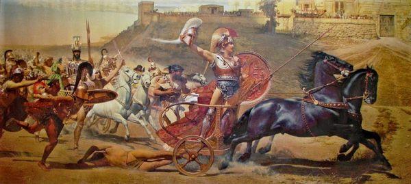 Ο Αχιλλέας περιφέρει το άψυχο σώμα του Έκτορα δεμένο στο άρμα του. Από τοιχογραφία του Αχιλλείου, Κέρκυρα