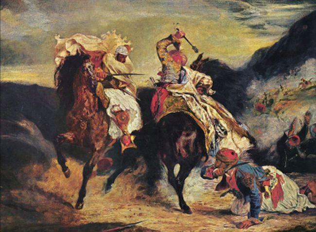 Η μάχη του Γκιαούρη και του Χασάν, Ευγένιος Ντελακρουά, Ελαιογραφία σε καμβά, διαστάσεις 58 × 71 cm. Art Institute of Chicago