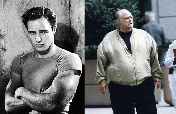 """Αριστερά, ο Μπράντο στο """"Λεωφορείο ο Πόθος"""". Δεξιά, πολλά χρόνια αργότερα, όταν αντιμετώπιζε προβλήματα με το βάρος του"""