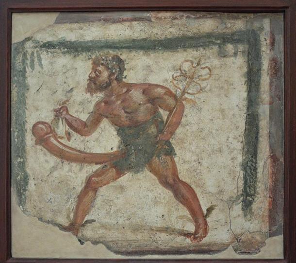 Ο Πρίαπος με φτερά στα πόδια, σαν τον Ερμή. Τοιχογραφία που βρέθηκε στην Πομπηία. Νάπολη, Εθνικό Αρχαιολογικό Μουσείο