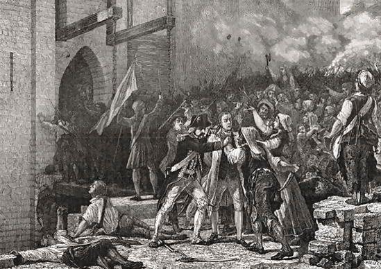 O διοικητής της Βαστίλης, το κεφάλι του οποίου έκανε το γύρο του Παρισιού καρφωμένο σε μια λόγχη.