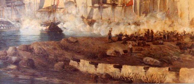 Η ναυμαχία των Σπετσών και το κανονιοστάσιο στην είσοδο του Παλιού Λιμανιού υπό τις εντολές του Χατζηγιάννη Μέξη (Ιωάννης Κούτσης, ελαιογραφία του 1887).