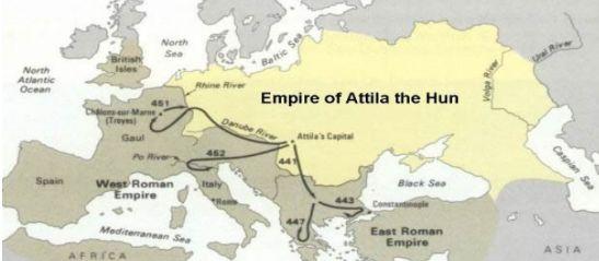 Η αυτοκρατορία του Αττίλα και οι εκστρατείες του