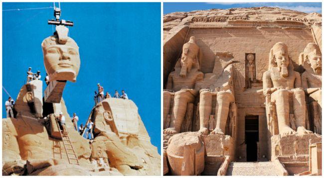 Ο εκπληκτικός ναός του Φαραώ Ραμσή Β'. Κόπηκε σε 120.000 ογκόλιθους για να μεταφερθεί, προκειμένου να κατασκευαστεί ένα από τα μεγαλύτερα φράγματα του κόσμου