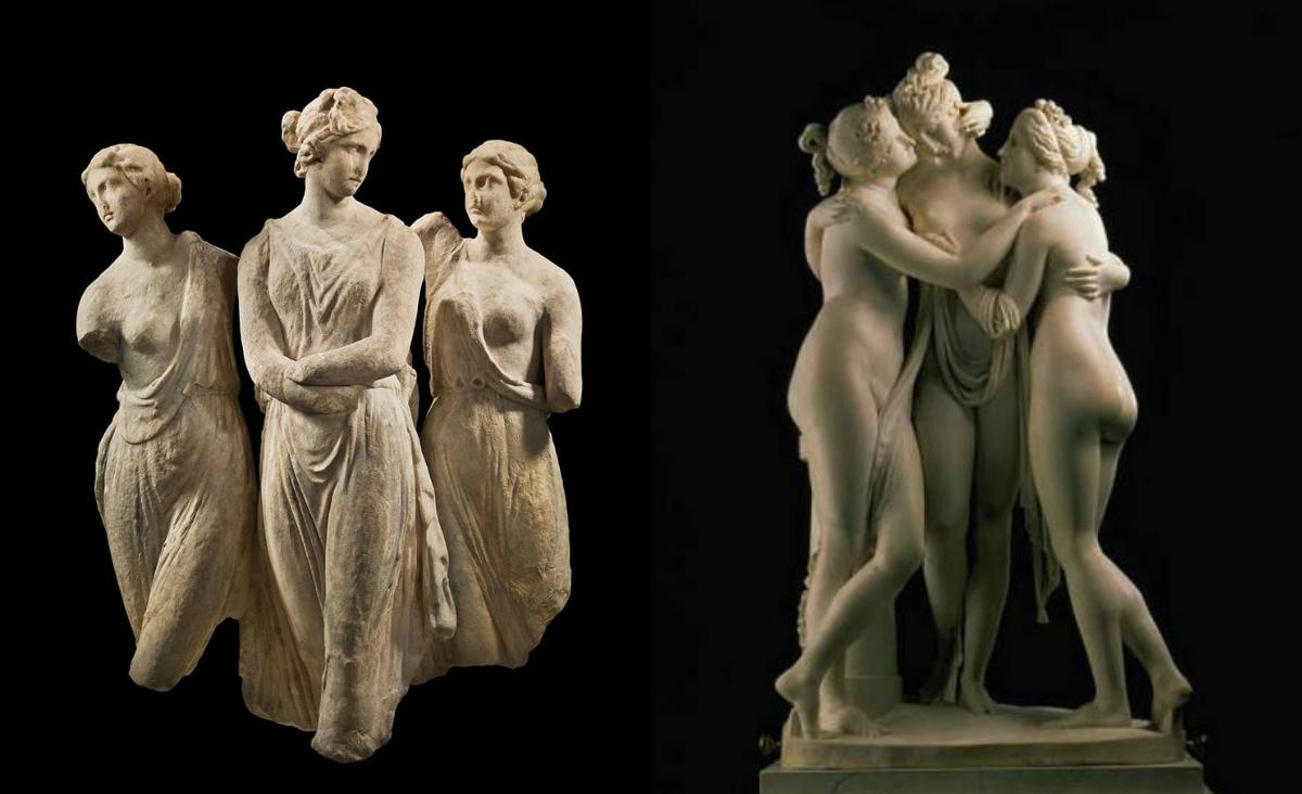 Οι 3 Χάριτες. Οι πανέμορφες θεές της μυθολογίας που συμβόλιζαν την ομορφιά και τη γονιμότητα. Τα αγάλματά τους ήταν τρεις πέτρες που έπεσαν από τον ουρανό