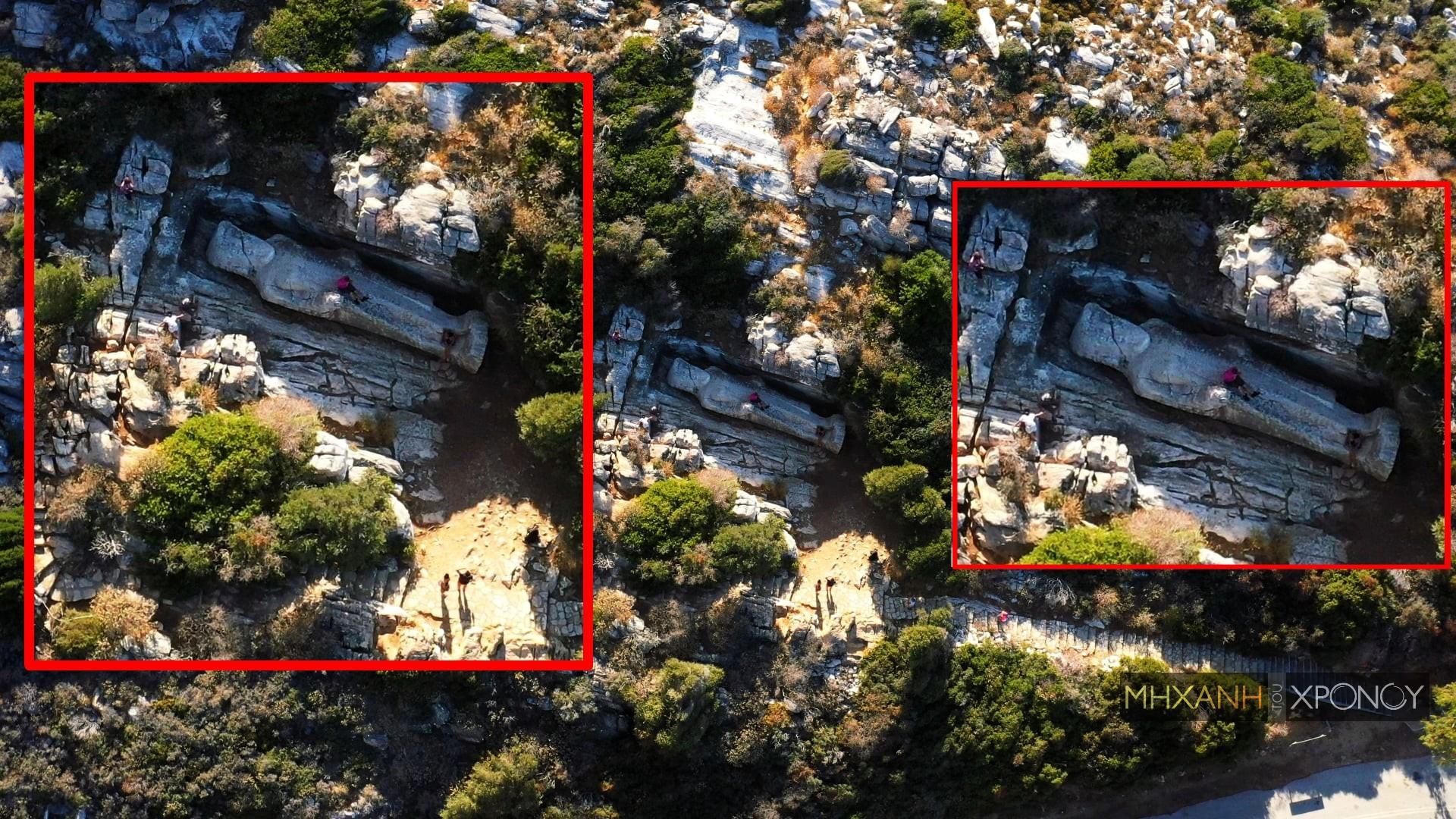 Ο «Κούρος του Απόλλωνα» στη Νάξο που οι τουρίστες ποδοπατούν για μια φωτογραφία. Το μυστηριώδες αρχαίο άγαλμα μήκους 10,7 μέτρων είναι λαξεμένο πάνω στον βράχο