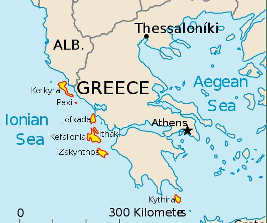 insulele ionice -harta